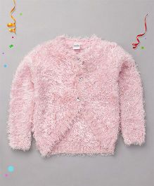 Babyhug Full Sleeves Flurry Shrug With Rhinestone Buttons - Pink