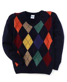 Babyhug Full Sleeves Sweater Argyle Design - Navy