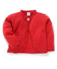 Babyhug Full Sleeves Cardigan Lace Design - Red