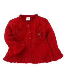 Babyhug Full Sleeves Cardigan With Frills - Red