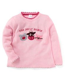 Babyhug Full Sleeves Sweater The Jolly Bunch Print - Pink