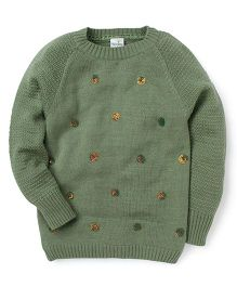 Babyhug Full Sleeves Sweater Sequin Detailing - Green