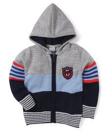 Babyhug Full Sleeves Hooded Sweater - Grey Navy