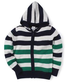 Babyhug Full Sleeves Hooded Stripe Sweater - Navy Green Off White