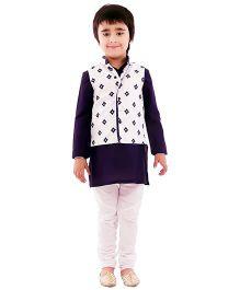 Kidology Ikkat Print Kurta Pajama With Vest - Navy & White