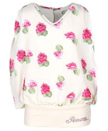 Cutecumber Sleeveless Floral Print Top With Rhinestones Embellishments - Pink And White