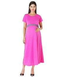 Morph Half Sleeves Maternity Long Dress - Fuchsia Pink