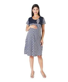 Morph Short Sleeves Zigzag Printed Dress - Navy Blue