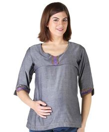 Morph Embroidered Nursing Top - Grey
