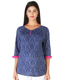 Morph Three Fourth Sleeves Victorian Print Top - Navy Blue