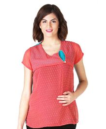 Morph Short Sleeves Nursing Top - Orange & Peacock Blue