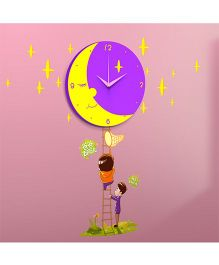 Supply Station DIY Moon Wall Clock - Purple And Yellow
