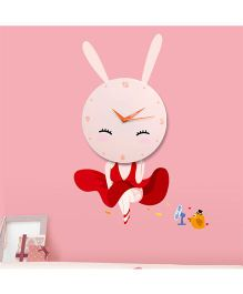 Supply Station DIY Rabbit Wall Clock - Peach And Red