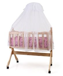 Wooden Baby Cradle With Mosquito Net - Pink