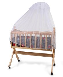 Wooden Baby Cradle With Mosquito Net - Grey