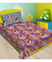 Disney Athom Trendz Princess Single Bedsheet Set Purple - DIS-01-091-S