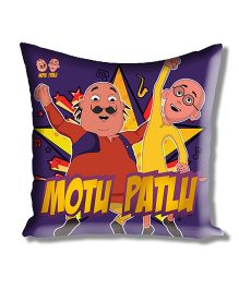 Motu Patlu Athom Trendz Cushion Cover With Filler - Purple MTP-10-3-M03-FL