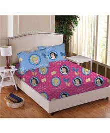 Disney Athom Trendz Princess Double Bed Sheet Set - Pink DIS-01-122-D