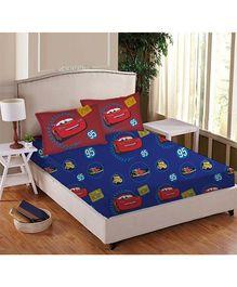 Disney Athom Trendz Cars Double Bed Sheet Set Blue - DIS 01 123 D