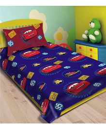Disney Athom Trendz Cars Single Bed Sheet With Pillow Cover - Blue DIS-01-123-S
