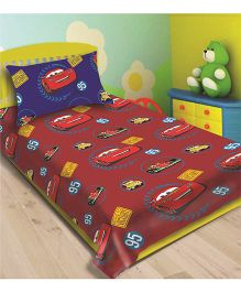 Disney Athom Trendz Cars Single Bed Sheet With Pillow Cover - Red DIS-01-124-S