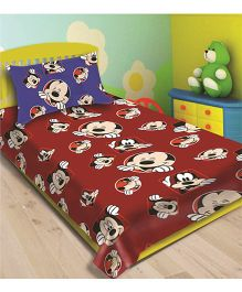 Disney Athom Trendz Mickey Mouse Single Bed Sheet With Pillow Cover - Red DIS-01-126-S