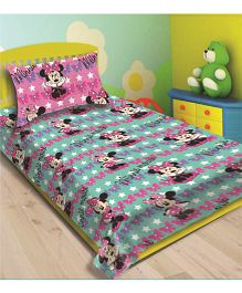 Disney Athom Trendz Minnie Mouse Single Bed Sheet With Pillow Cover DIS-01-127-S - Green