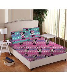 Disney Athom Trendz Minnie Mouse Double Bed Sheet Set - Pink DIS-01-128-D