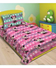 Disney Athom Trendz Minnie Mouse Single Bed Sheet With Pillow Cover DIS-01-128-S - Pink