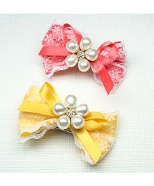 Asthetika Set Of 2 Bow Hair Clip - Pink & Yellow