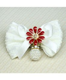 Asthetika Fabric Bow Hair Clip - White