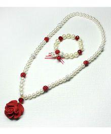 Asthetika Rose Bracelet & Necklace Set - Red