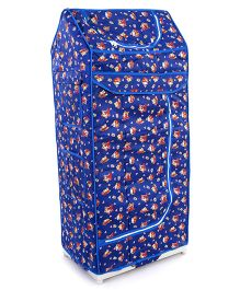 Luvely Folding Almirah Teddy And Flower Print - Blue
