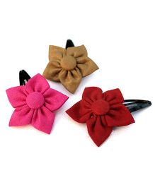Pigtails And Ponys Flower Hair Clips - Maroon Pink Golden