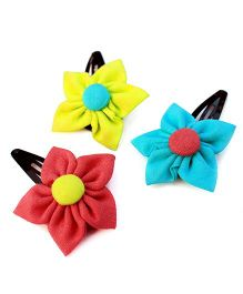 Pigtails And Ponys Pastel Flower Hair Clips - Pink Yellow Blue