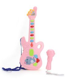 Classic Musical Guitar With Mike And Light - Pink
