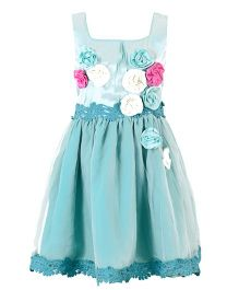 Marshmallow Dress With Flower Applique - Sea Green