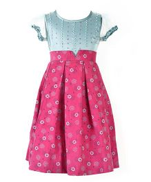 Marshmallow Printed Dress With Embellishment - Magenta