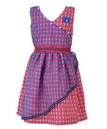 Marshmallow Elegant Dress With Flower Applique  - Purple