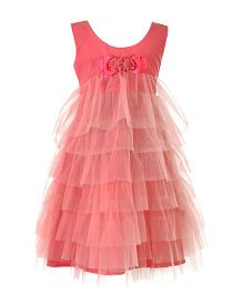 Marshmallow Frill Dress - Peach