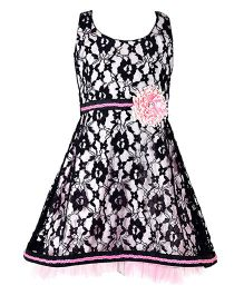 Marshmallow Lace Dress With Flower Applique - Black