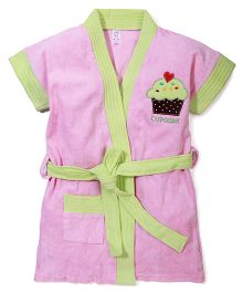 Pink Rabbit Bath Robe With Cupcake Patch - Green & Pink
