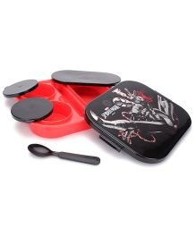 Marvel Spider Man Print Lunch Box With Spoon - Black And Red