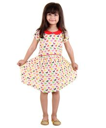 Kids On Board Horse Print Dress With Contrast Collar - Multicolor