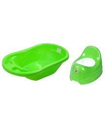 Sunbaby Bathtub With Potty Trainer Pack of 2 - Green