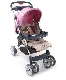 Toyhouse Premium Baby Stroller With Canopy Pink - ATTPST1112875