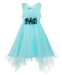 The Cranberry Club Foil Hanky Hem Dress - Aqua