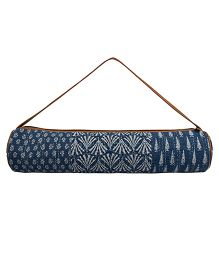 Jaipurse Patchwork Kantha Work Yoga Mat Bag  - Dark Blue