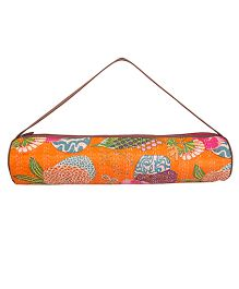 Jaipurse Kantha Work Yoga Mat Bag  - Orange