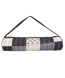 Jaipurse Patchwork Kantha Work Yoga Mat Bag  - Black White & Blue